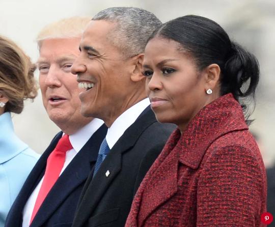 Donald Trump, Barack Obama and Michelle Obama at the inauguration