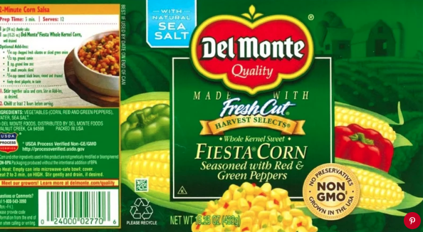 Del Monte Fiesta Corn recalled