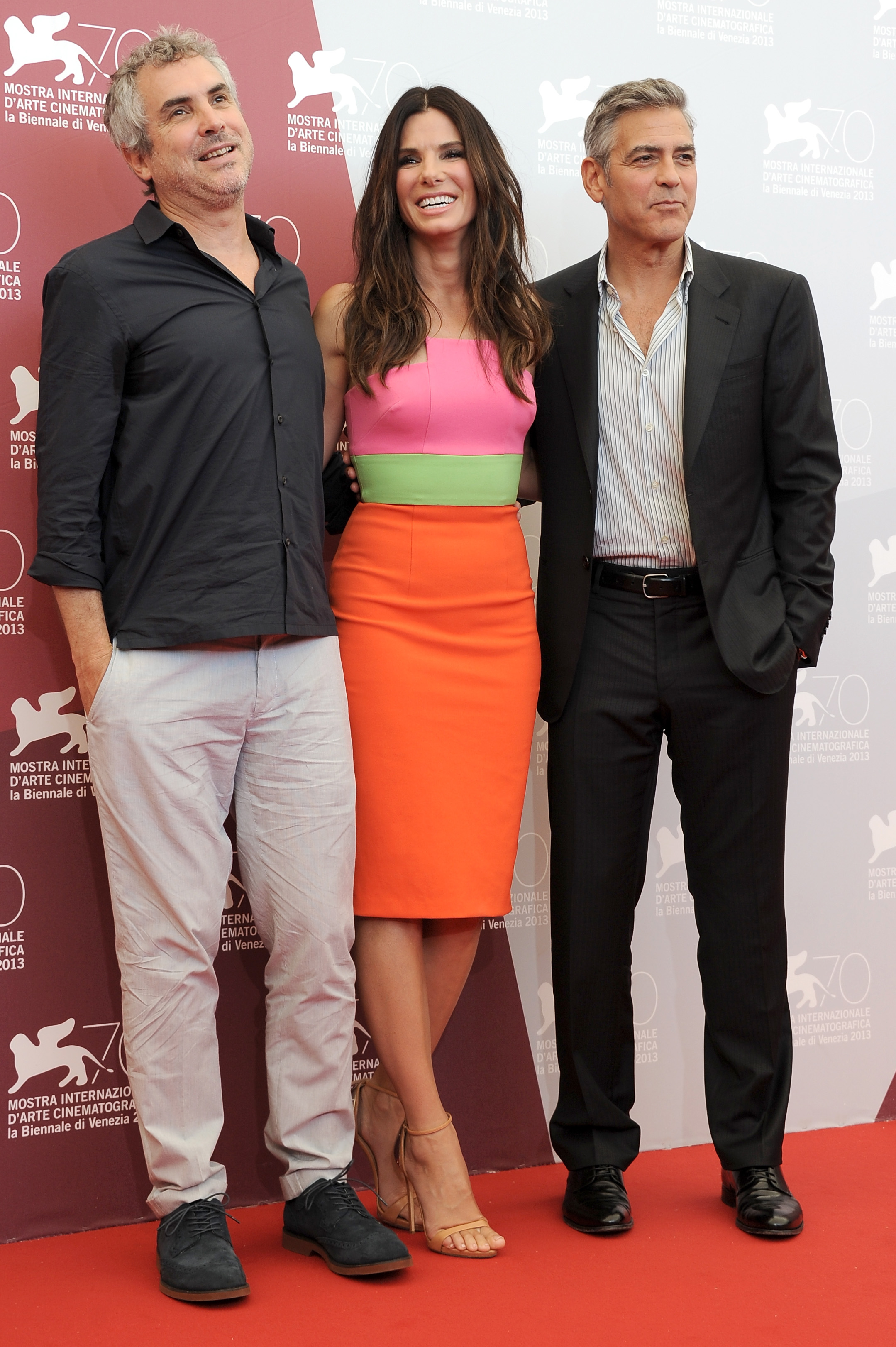lfonso Cuaron, actress Sandra Bullock and actor George Clooney