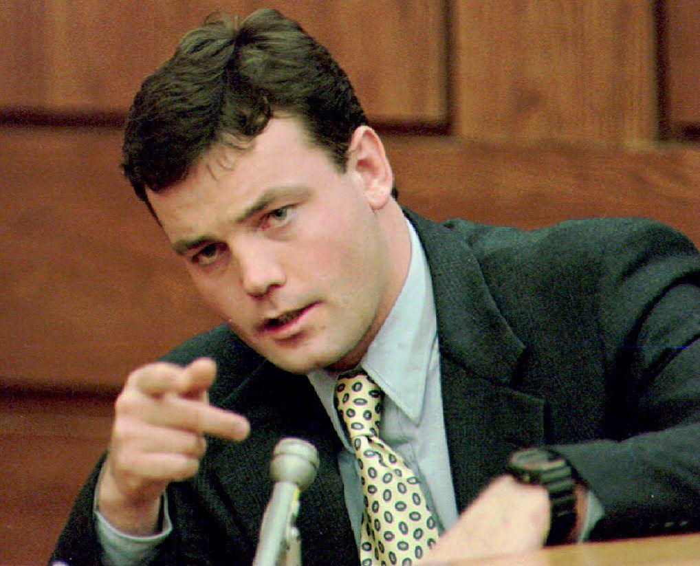 John Wayne Bobbitt points during testimony on the