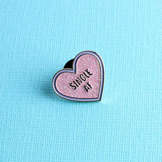 Single AF Pink Glitter Heart Enamel Pin