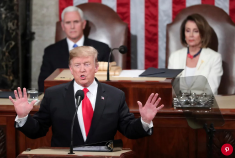 President Donald Trump during his State of the Union address on Tuesday. Photo: Andrew Harnik/AP/REX/Shutterstock