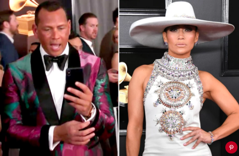 From left: Alex Rodriguez and Jennifer Lopez at the 2019 GrammysE!; Photo: Jon Kopaloff/Getty