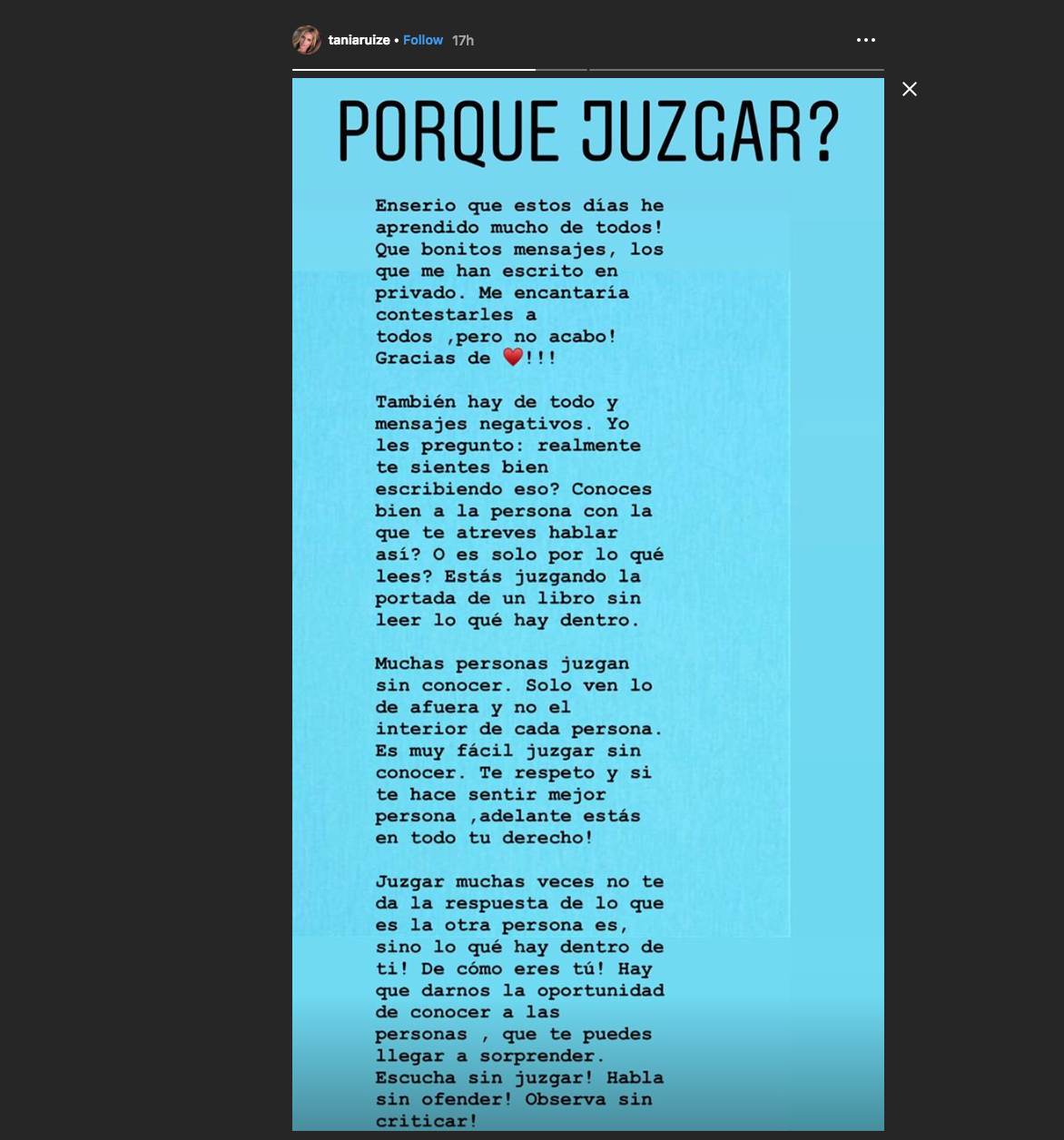 Instagam Tania Ruiz Eichelmann
