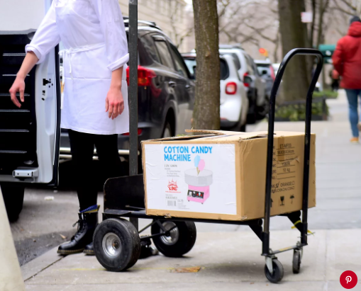 A cotton candy machine being brought to The Mark hotel. Photo: Splash News.