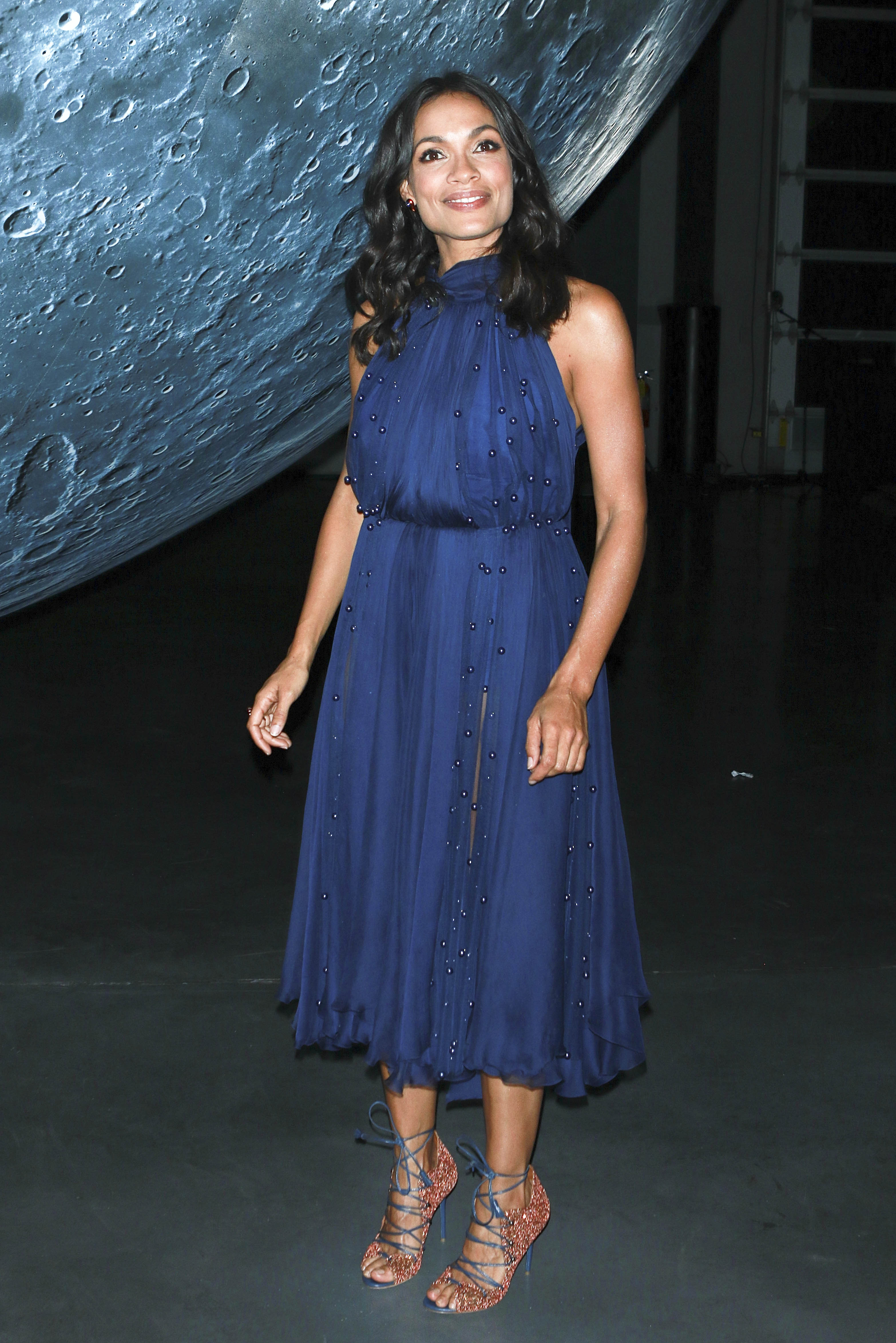 Rosario Dawson in Sheer Dress at the Opening of Museum of Artemis: Life on the Moon Exhibition