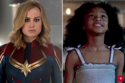 Brie Larson and Akira Akbar in Captain Marvel. Pictures: Marvel; Marvel/Twitter