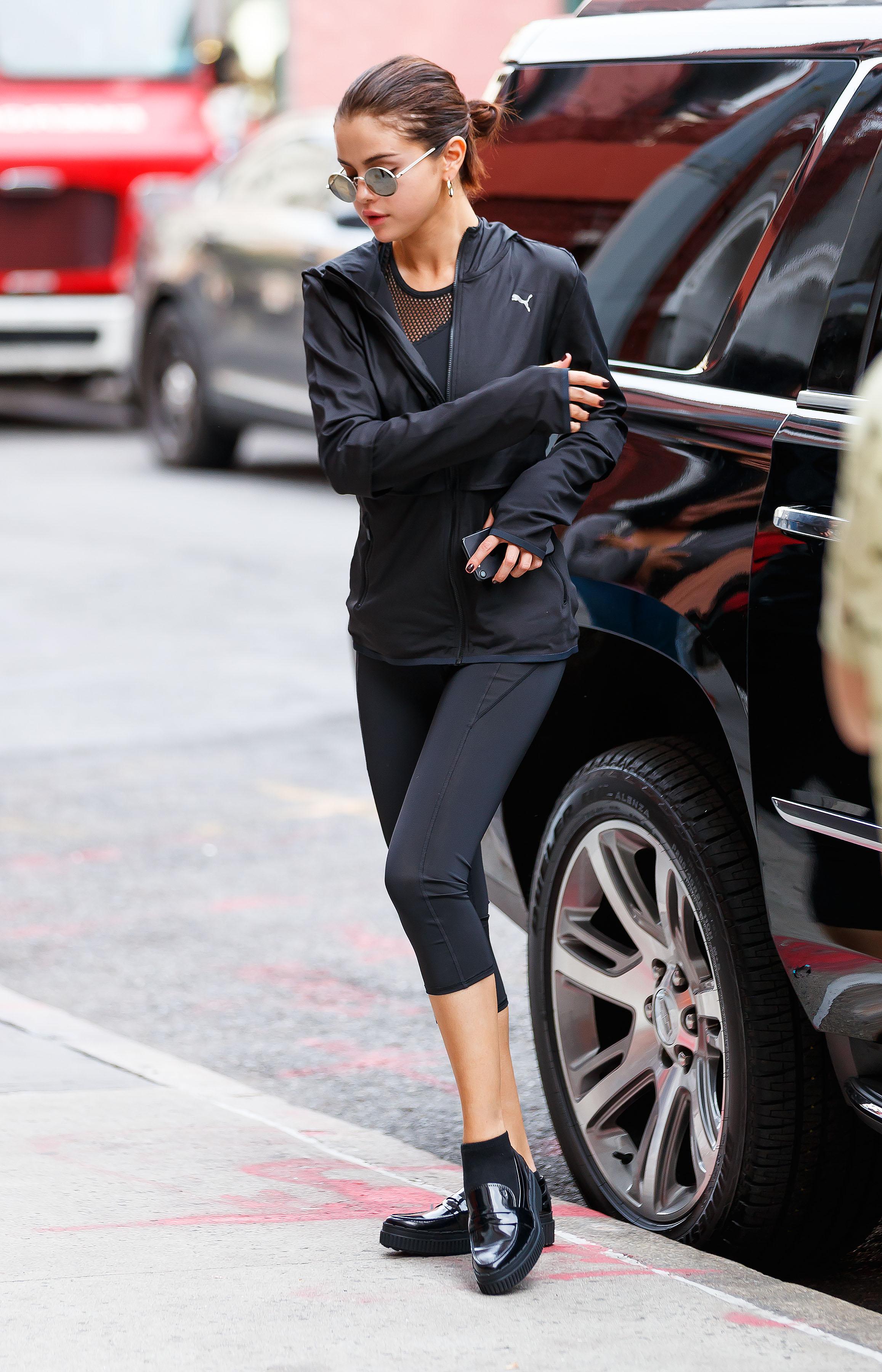 famosa, estilo, deportivo, gym, look
