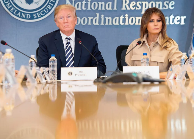 From left: President Donald Trump and First Lady Melania Trump visit the Federal Emergency Management Agency Headquarters for a hurricane briefing in June 2018 JIM WATSON/AFP/Getty