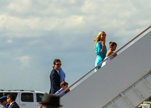 Ivanka Trump (in turqouise) and husband Jared Kushner (behind) leave Palm Beach, Florida, on March 31 Joe Forzano/The Palm Beach Post via ZUMA