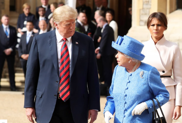 From left: President Donald Trump, Queen Elizabeth and First Lady Melania Trump in July CHRIS JACKSON/GETTY