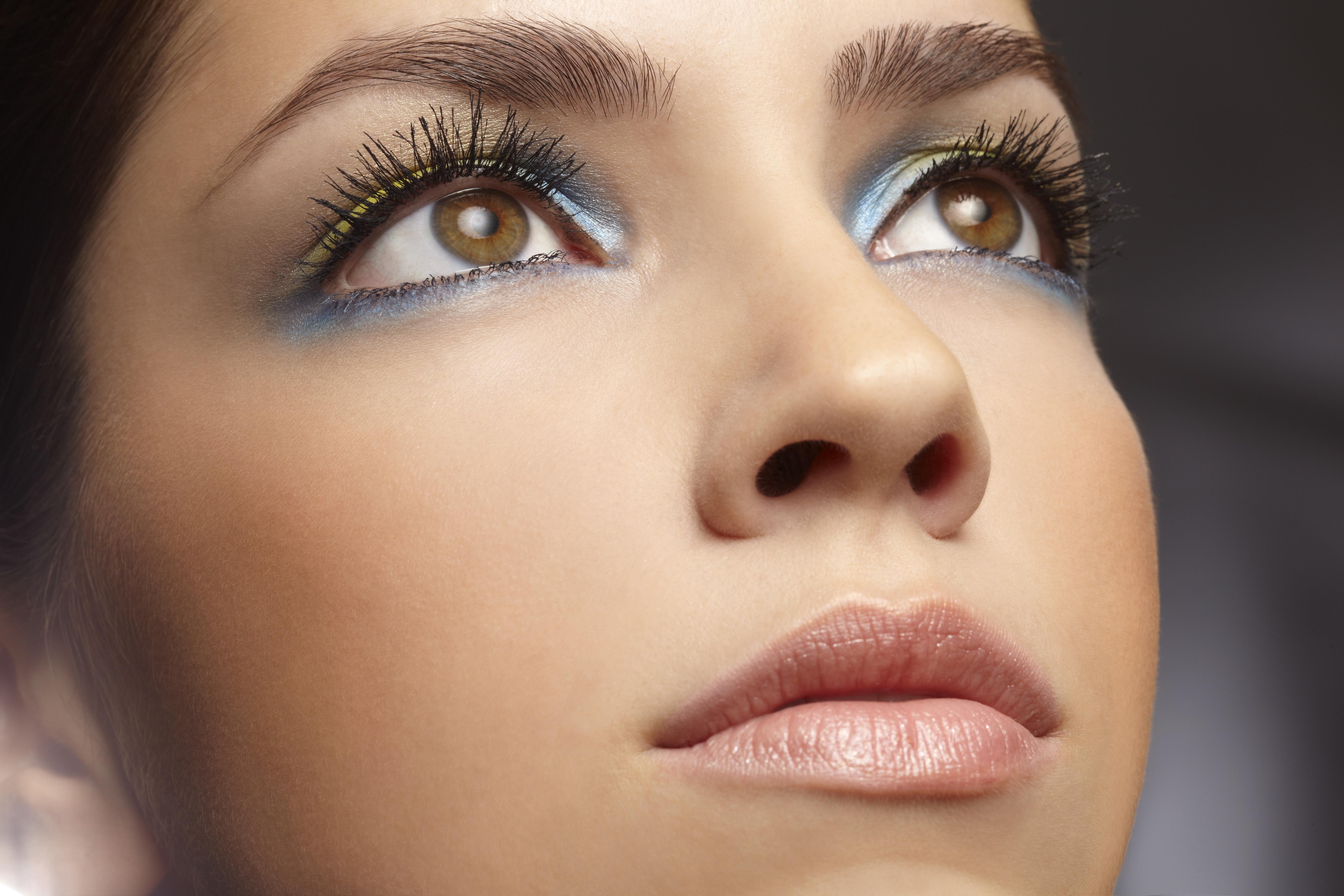 Woman with metallic eye make-up