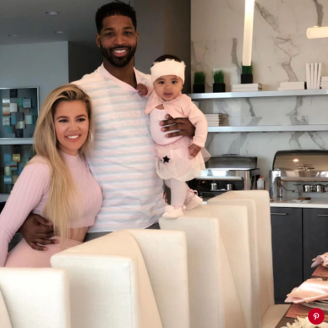 Khloé Kardashian and Tristan Thompson with daughter Tru