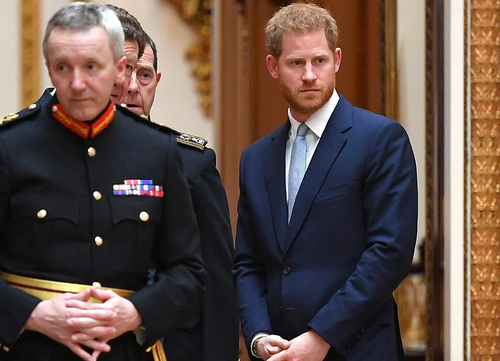 Prince Harry (right) with President Donald Trump at Buckingham Palace on Monday