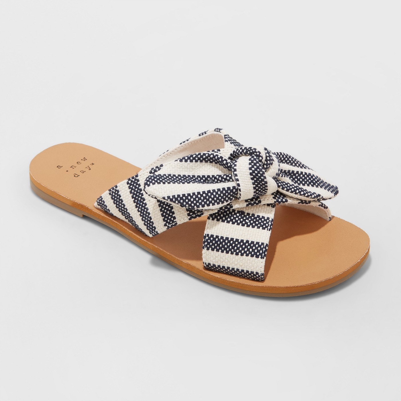 A New Day Livia Striped Knotted Bow Slide Sandals, $22.99