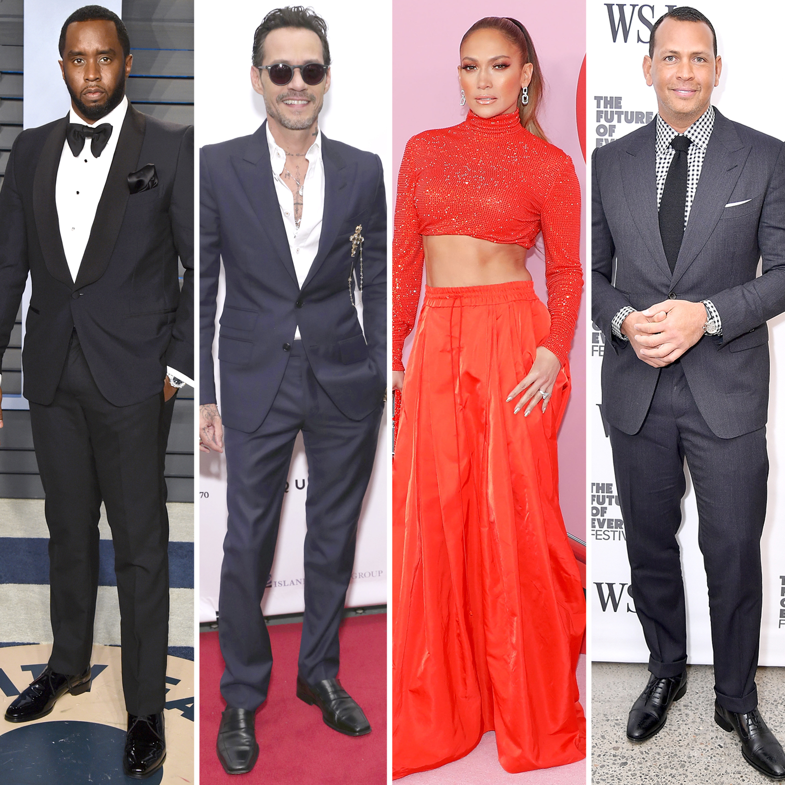 "Sean ""Diddy"" Combs, Marc Anthony, Jennifer Lopez y Alex Rodriguez"