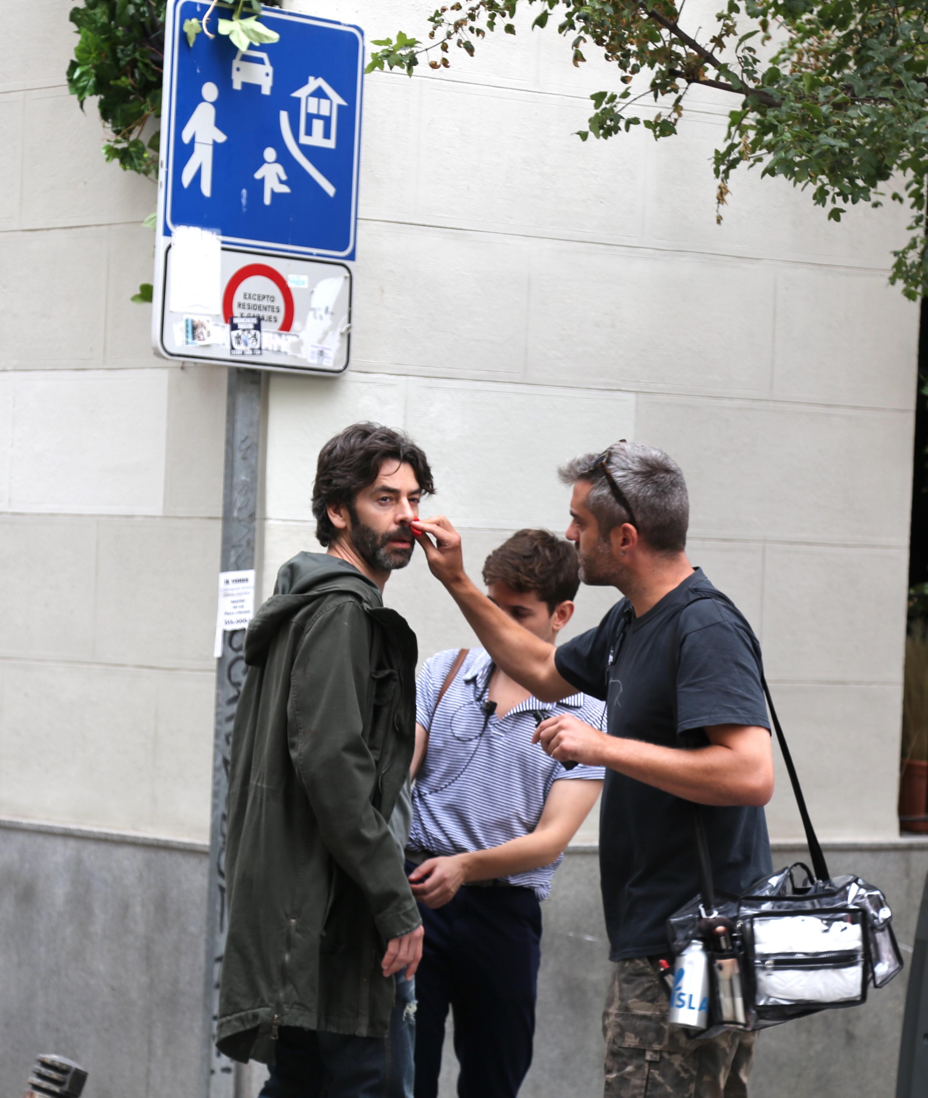 Eduardo Noriega grabando Madrid la teleserie No te puedes esconder