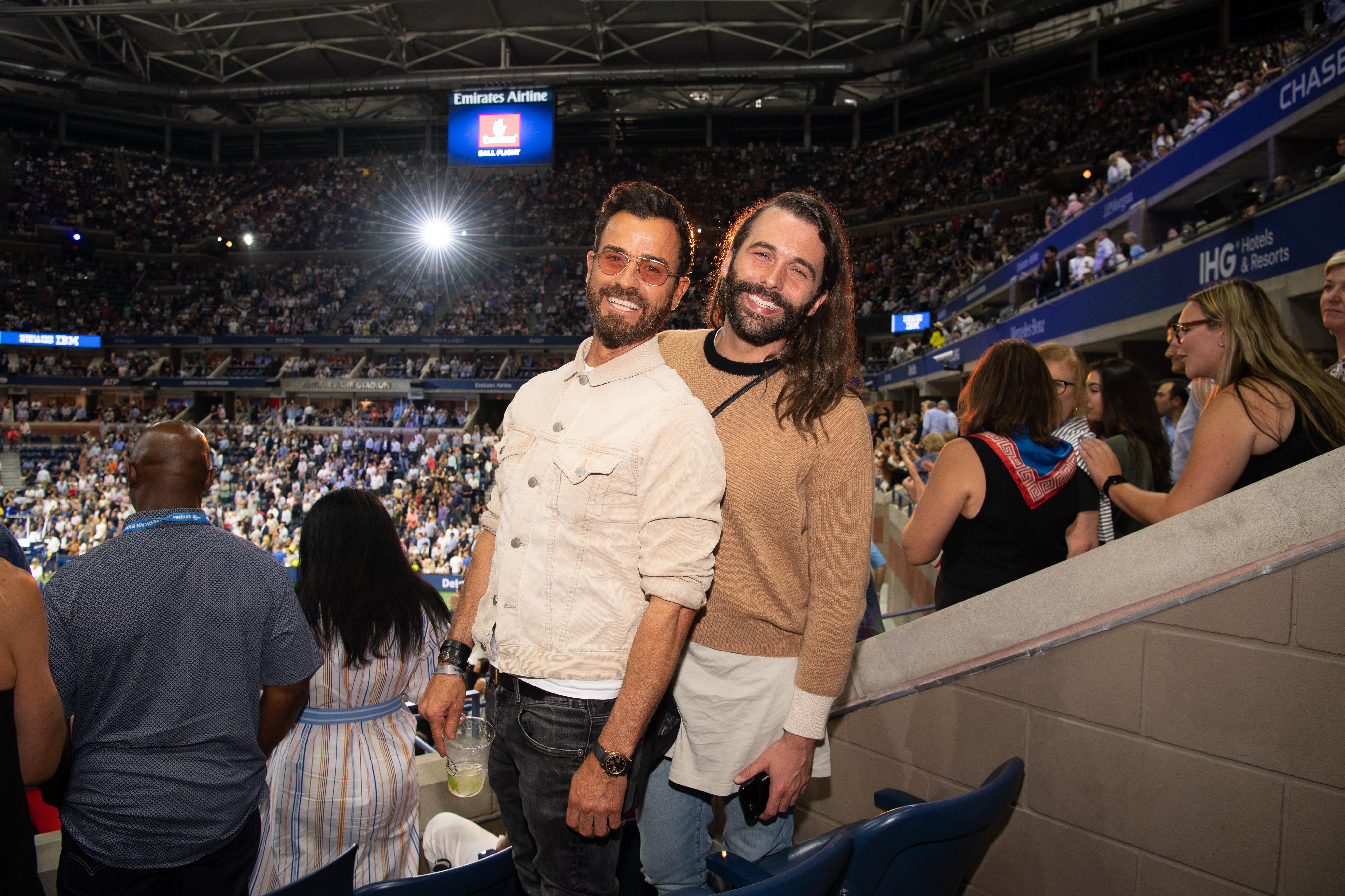 Justin Theroux y Jonathan Van Ness US Open 2019