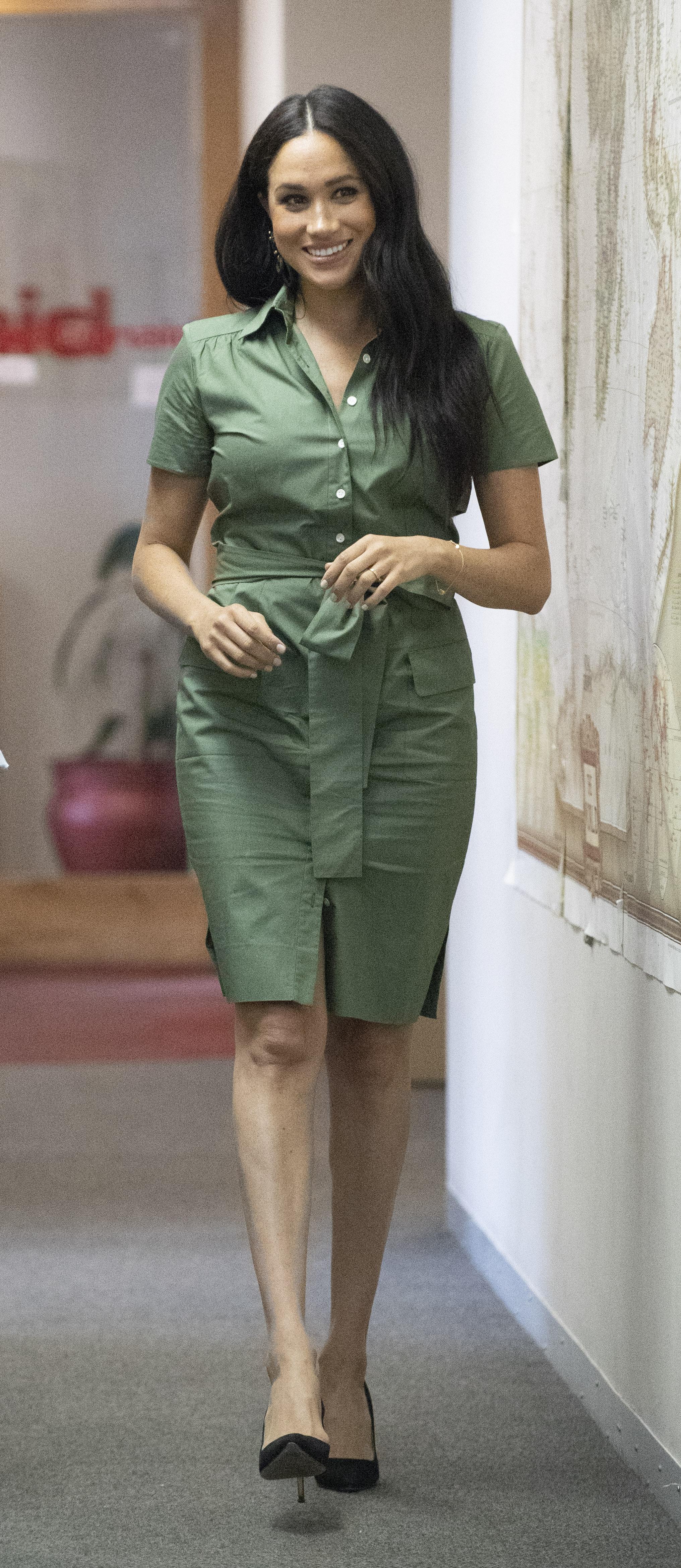 Meghan Markle, looks, vestido camisero, africa