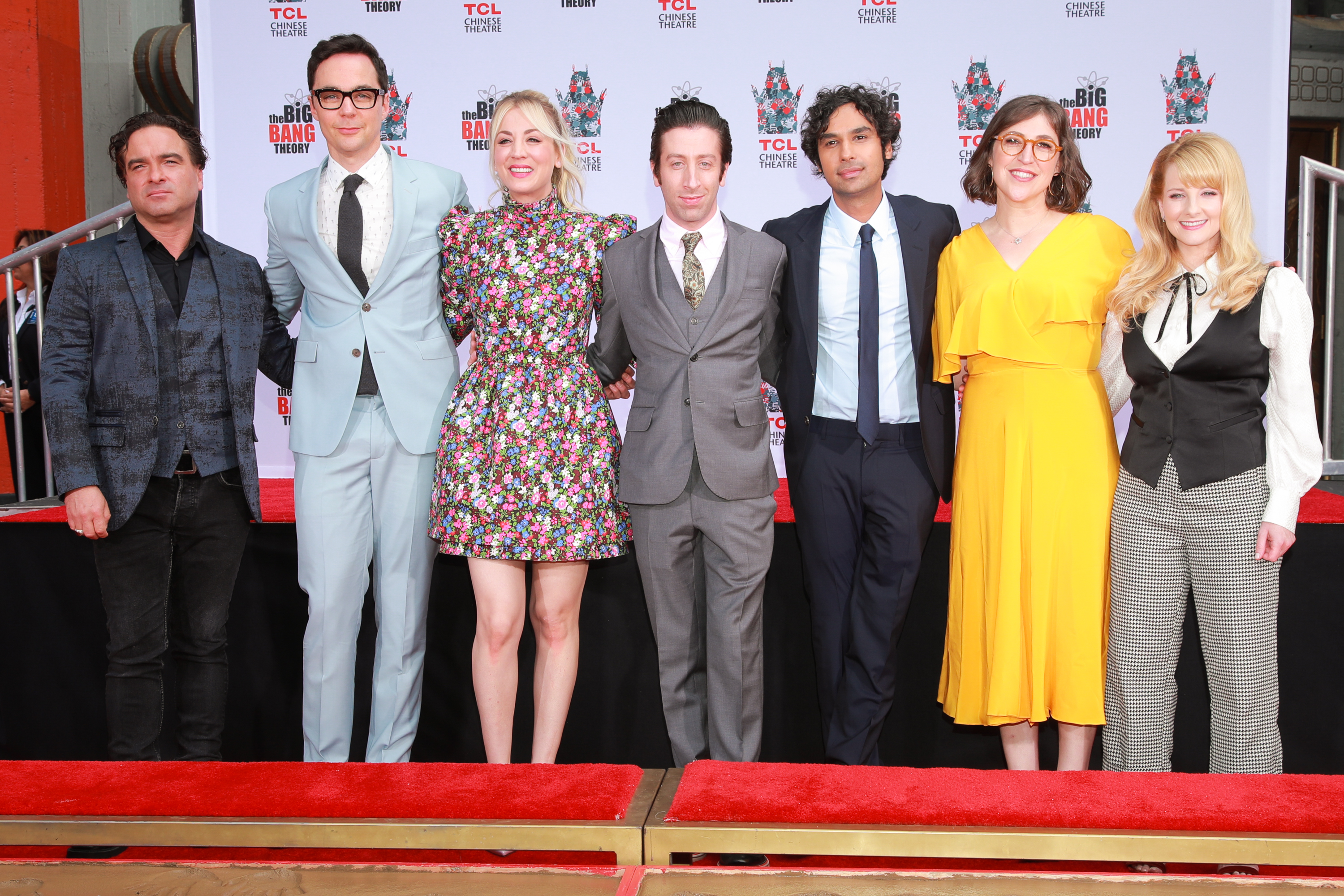 """The Cast Of """"The Big Bang Theory"""" Places Their Handprints In The Cement At The TCL Chinese Theatre IMAX Forecourt"""