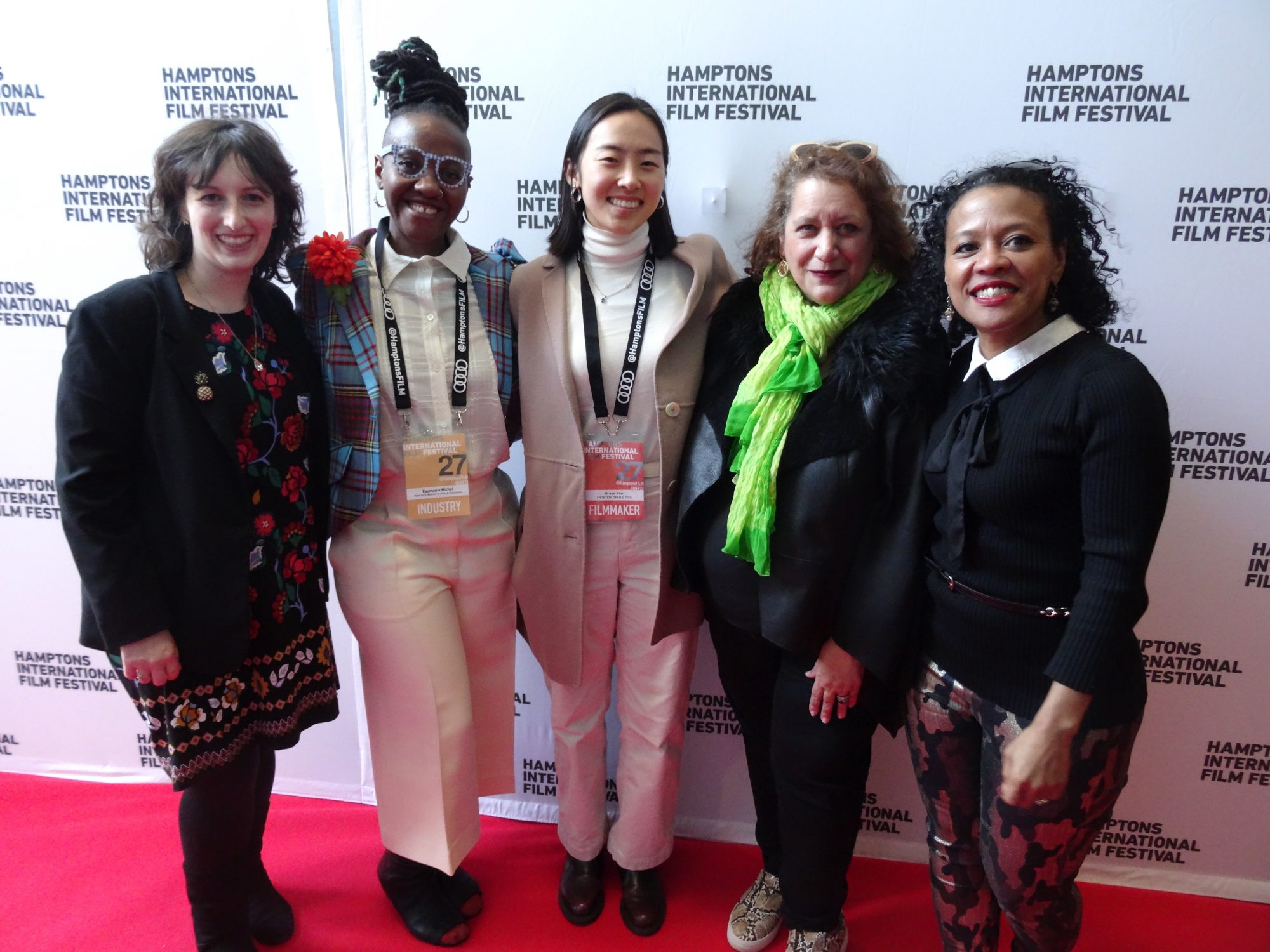 From left: Katie Chambers (NYWIFT Community Engagement Director), Easmanie Michel (NYWIFT Special Projects and Finance Associate), Grace Kim (Filmmaker) Cynthia Lopez (NYWIFT Executive Director) and Rachel Watanabe-Batton (NYWIFT Board Member/Producer), on the red carpet at the NYWIFT Women Calling the Shots Showcase at the 2019 Hamptons International Film Festival