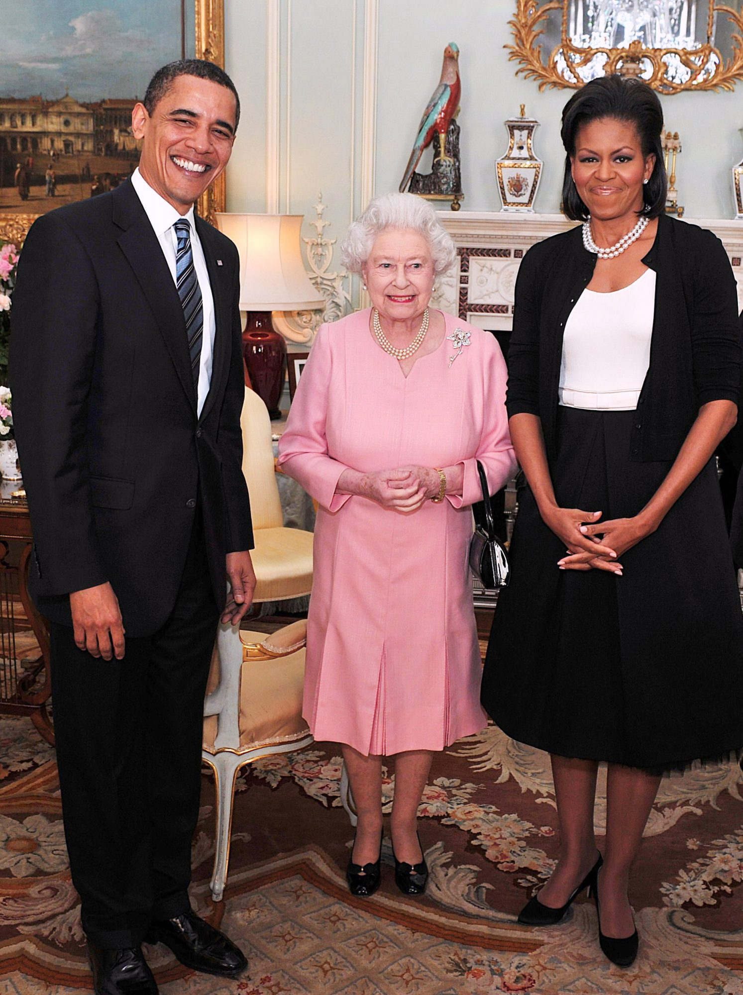 Barack Obama, Michelle Obama y Queen Elizabeth II