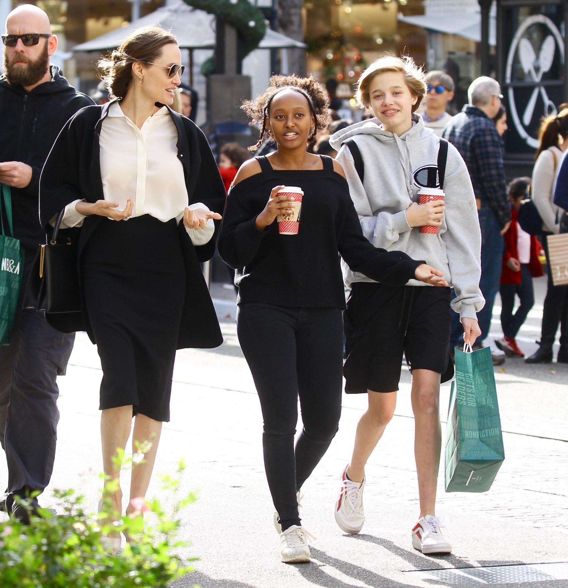 Angelina Jolie takes daughters Zahara and Shiloh