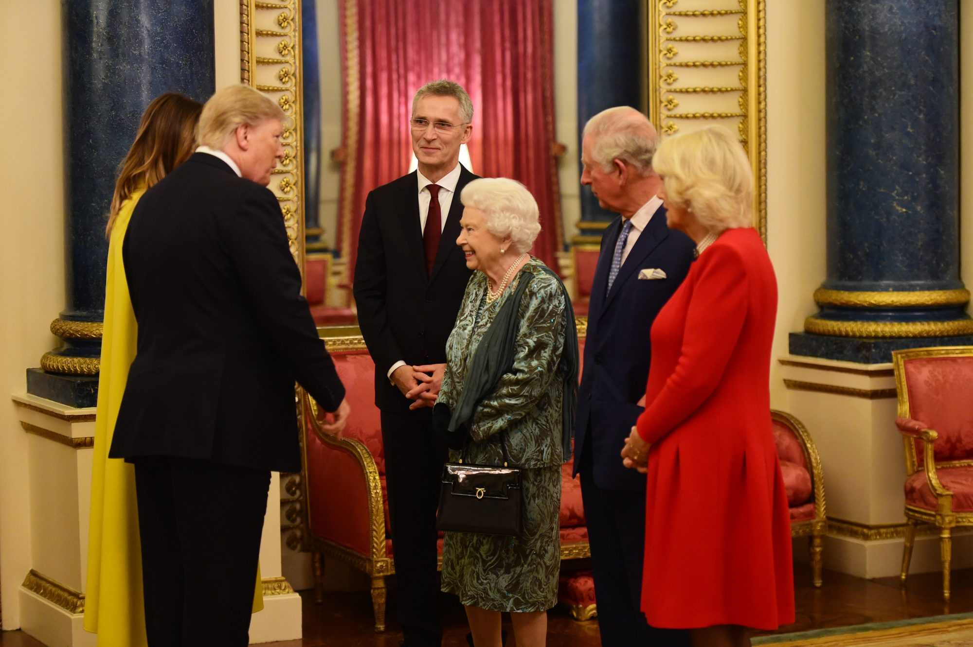 Donald Trump, Melania Trump, reina Isabel II, priíncipe Carlos