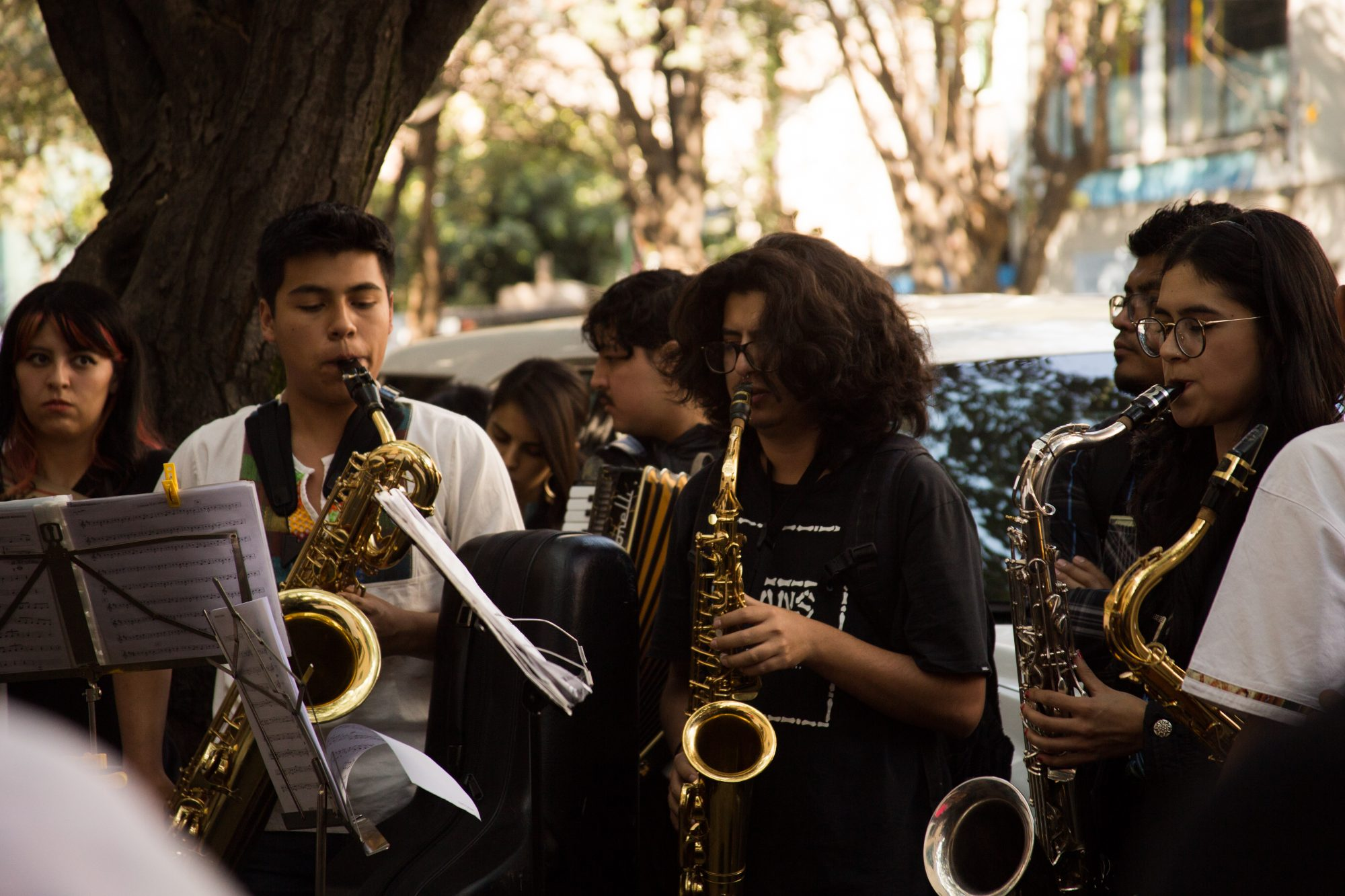 Protest In Mexico City Over The Acid Attack Against Oaxacan Saxophonist Maria Elena Rios Ortiz