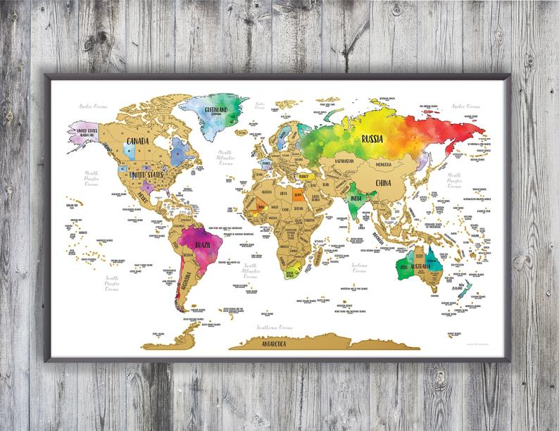 viajes regalos mapa etsy