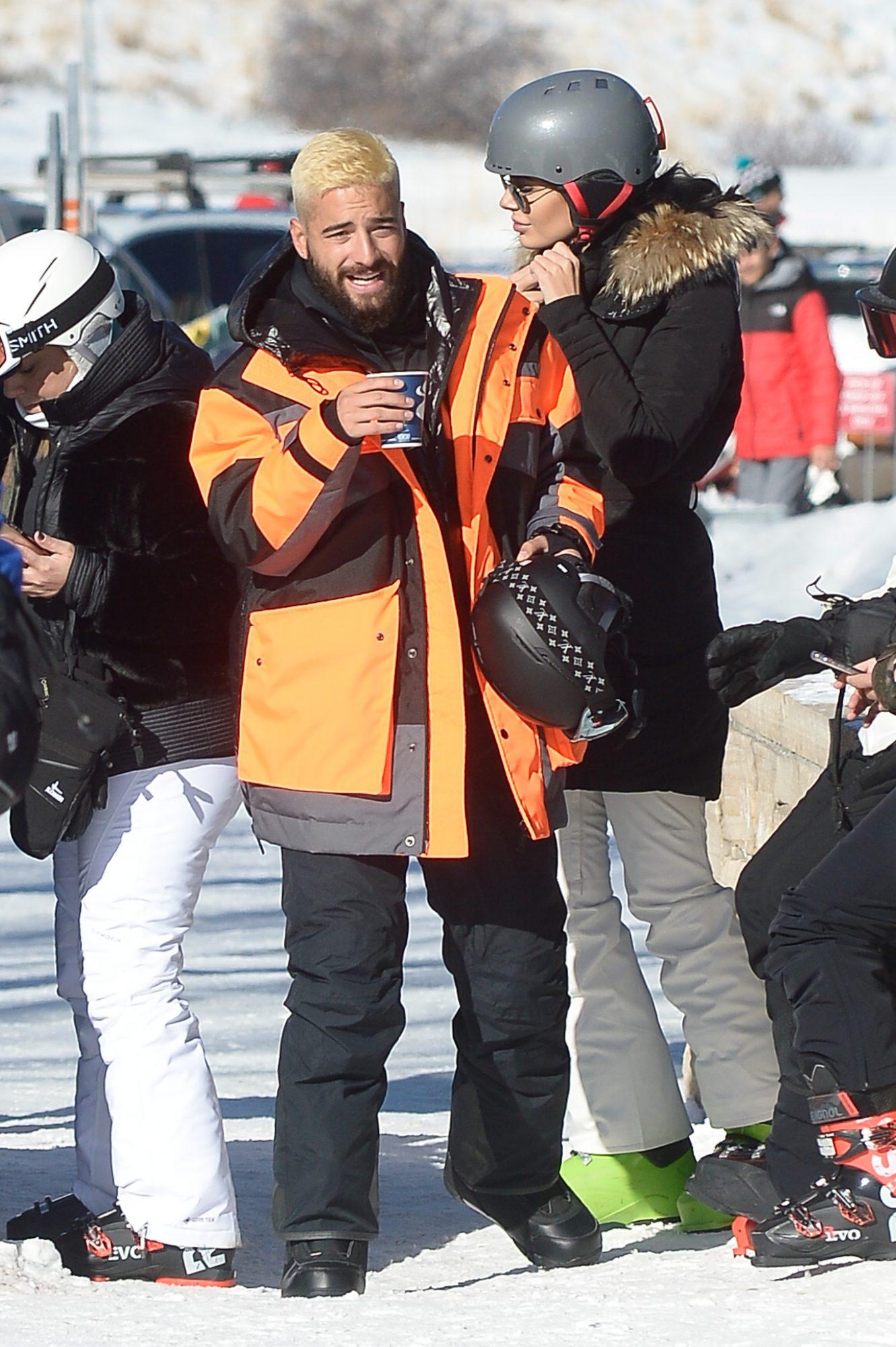Maluma is spotted snowboarding with a female friend in Aspen