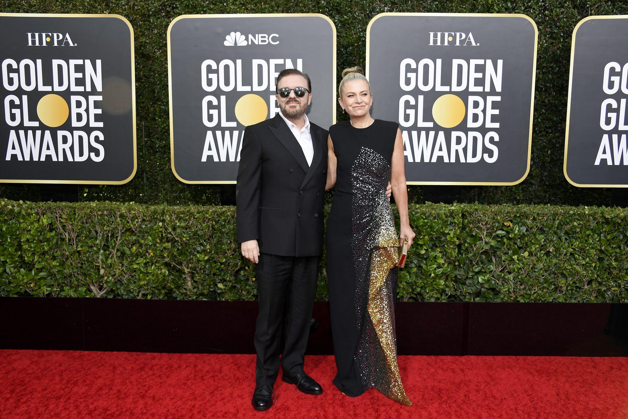 Ricky Gervais y Jane Fallon Alfombra Roja Golden Globes 2020