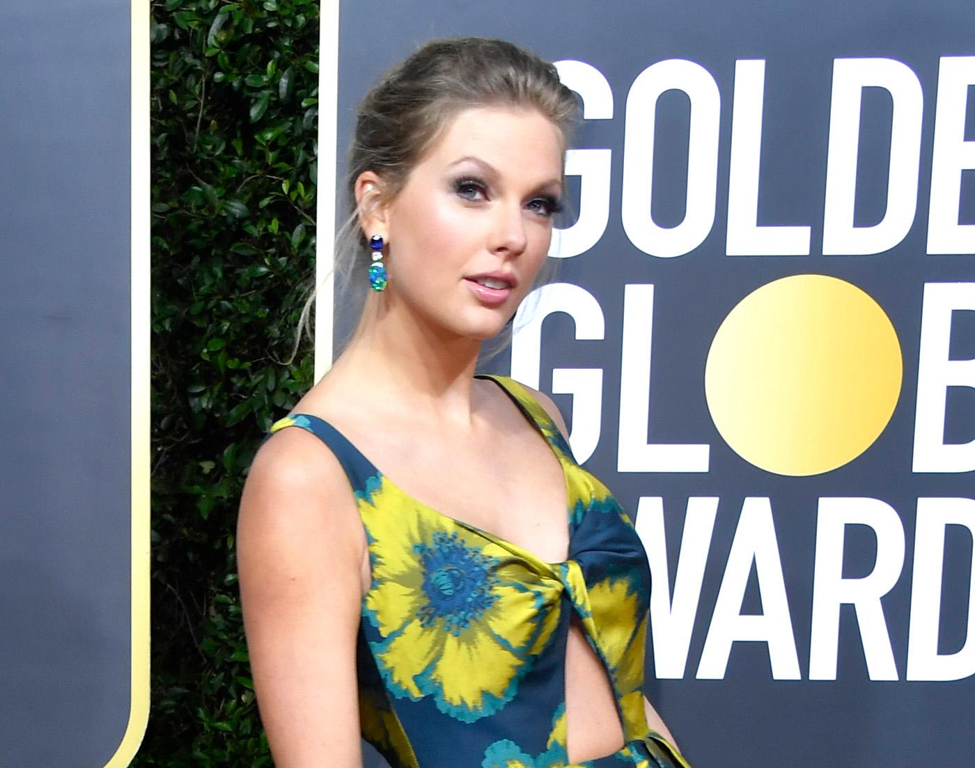 Taylor swift, look, belleza, maquillaje, peinado, golden globes