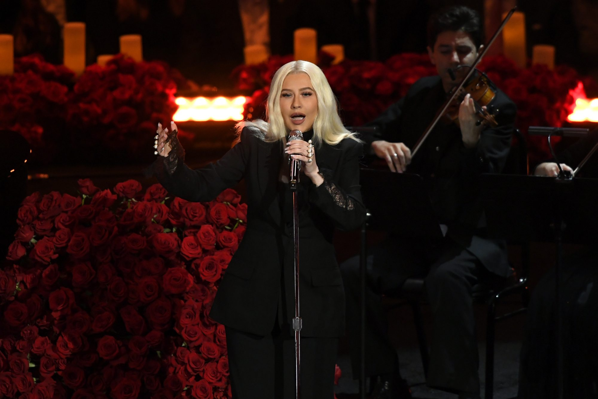 Christina Aguilera performs during The Celebration of Life for Kobe & Gianna Bryant at Staples Center on February 24, 2020 in Los Angeles, California