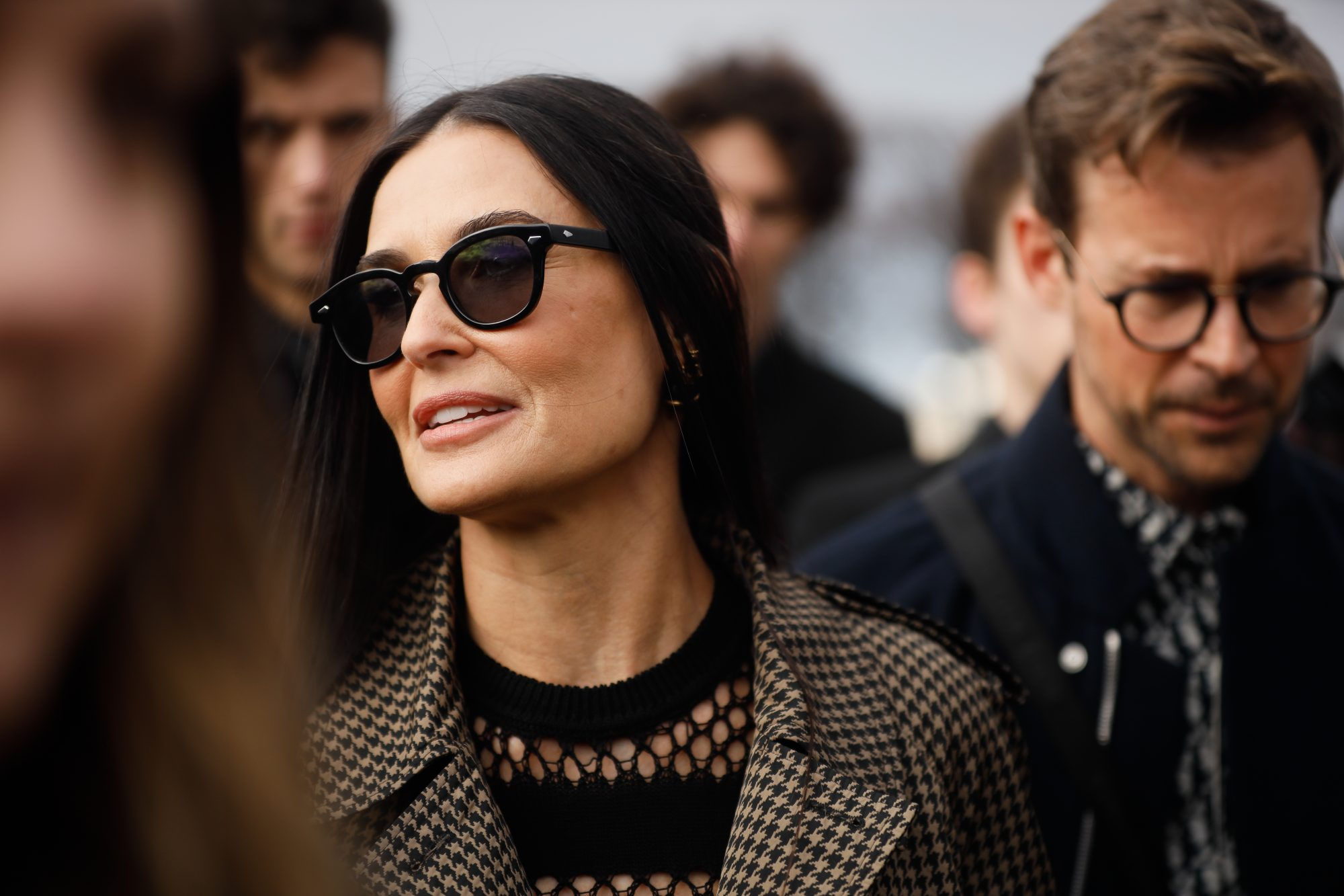Demi Moore wearing Dior dress outside the Dior show as part of the Paris Fashion Week Womenswear Fall/Winter 2020/2021 on February 25, 2020 in Paris