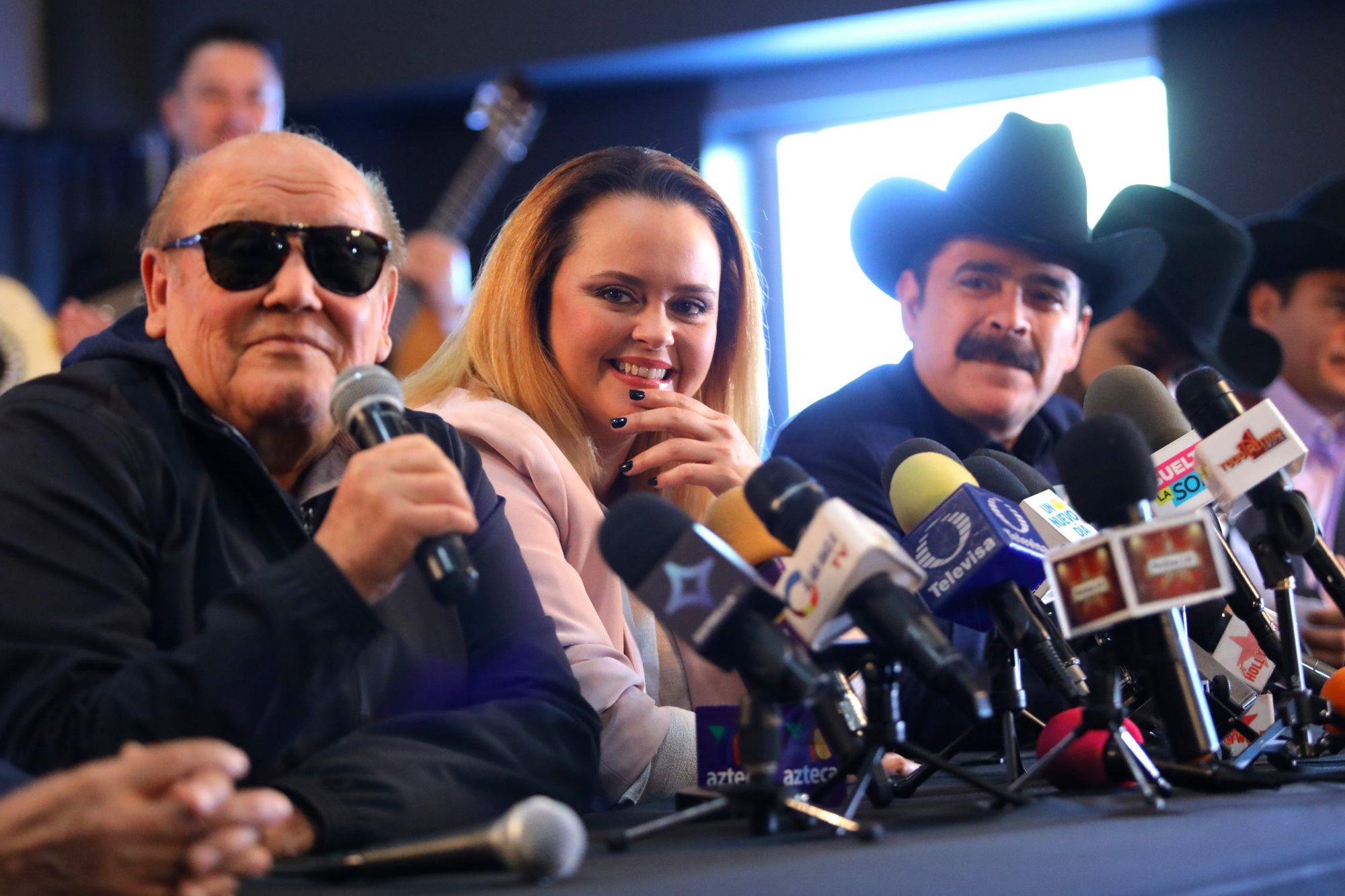 """Leo Dan, Shaila Durcal and Mario Quintero Lara speak during """"La Caravana del Amor"""" Tour Press Announcement at Toyota Arena"""