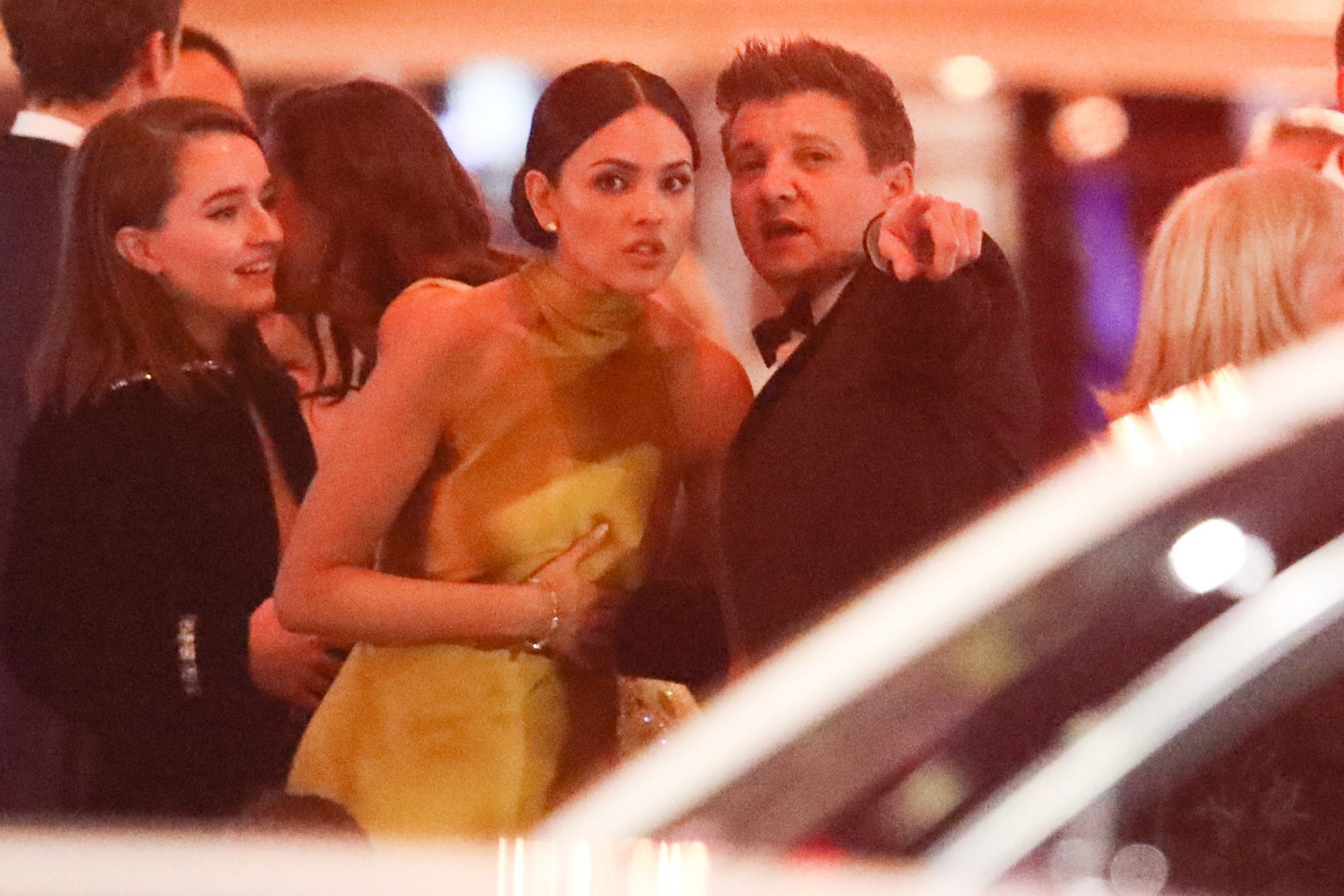 eremy Renner is seen holding Eiza Gonzalez arm as they both left the Vanity Fair Oscar party together