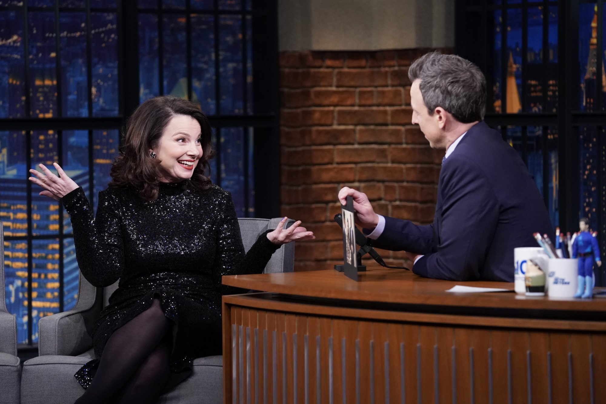 Fran Drescher during an interview with host Seth Meyers