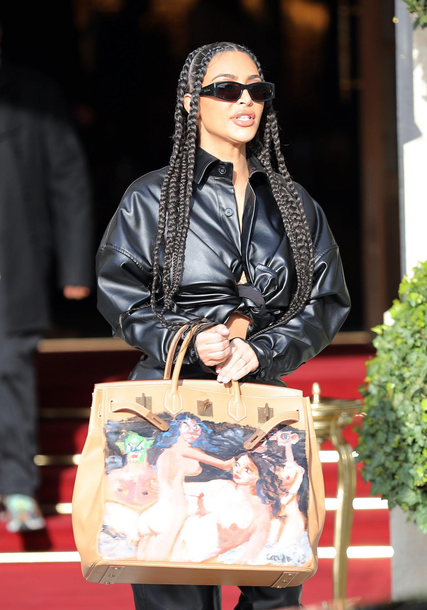 Kim Kardashian seen leaving Ritz Hotel during Paris Fashion Week on March 3, 2020 in Paris, France