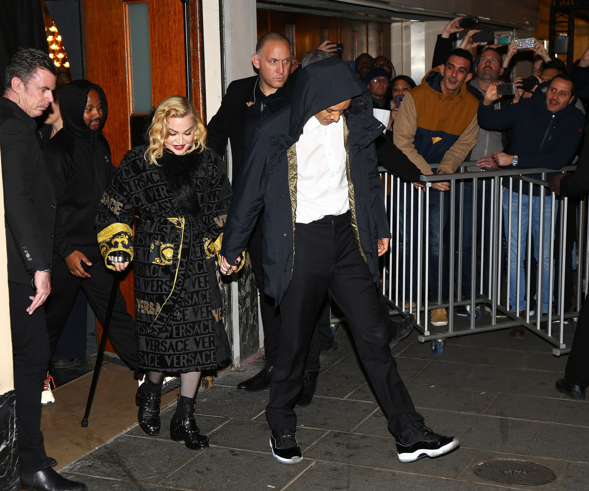 Madonna and boyfriend Ahlamalik Williams leave the 'Le Grand Rex' at the end of her concert in Paris.