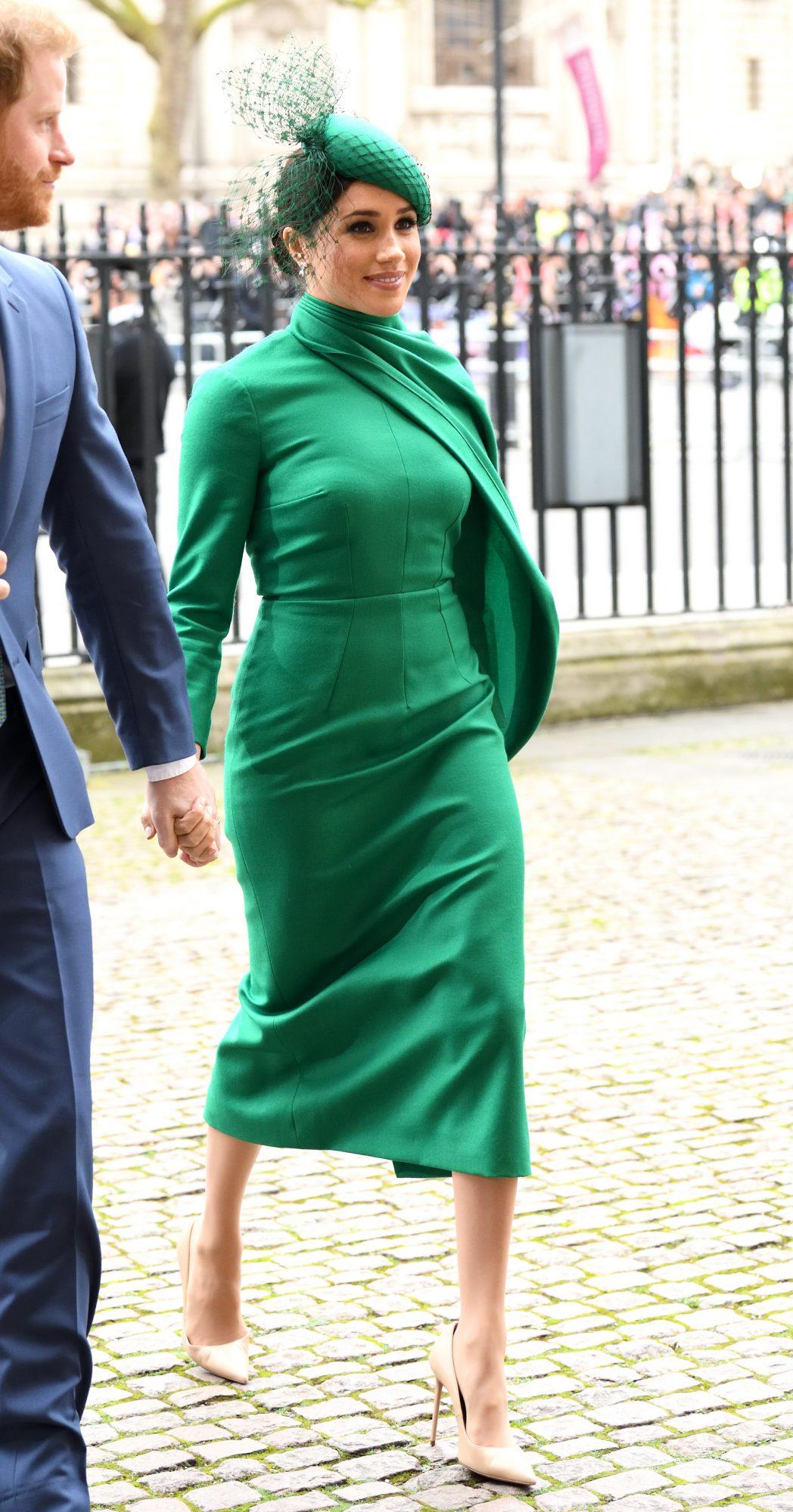 Meghan Markle, ultimo look, londres, vestido verde, iglesia
