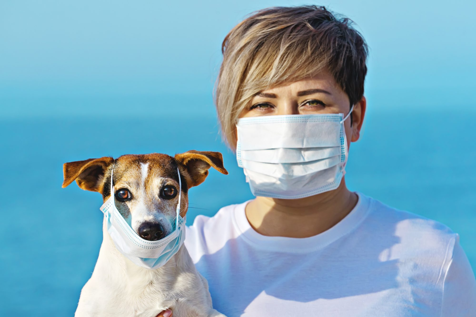 Mujer máscara coronavirus perro