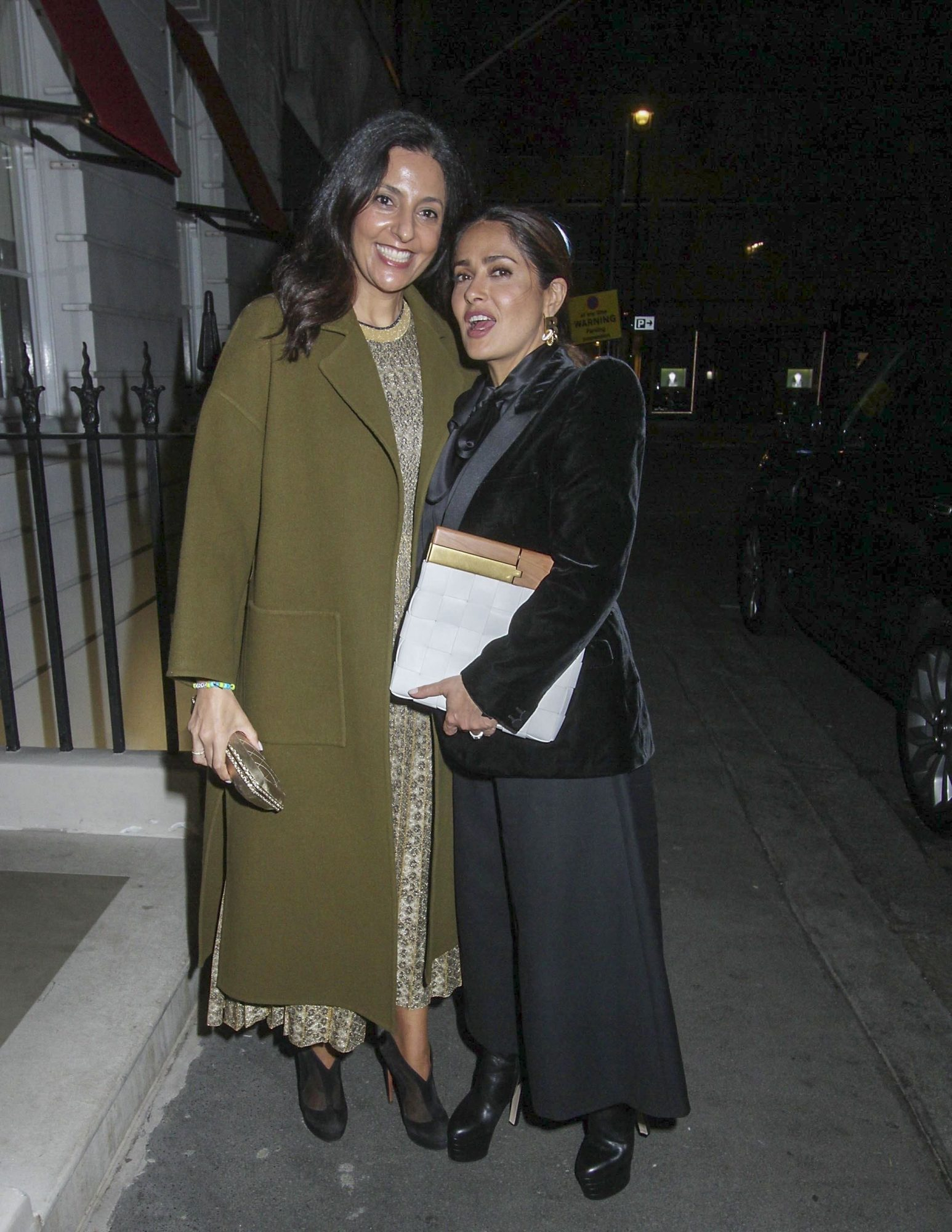 Salma Hayek and husband Francois-Henri Pinault pictured arriving to Oswald's in London.
