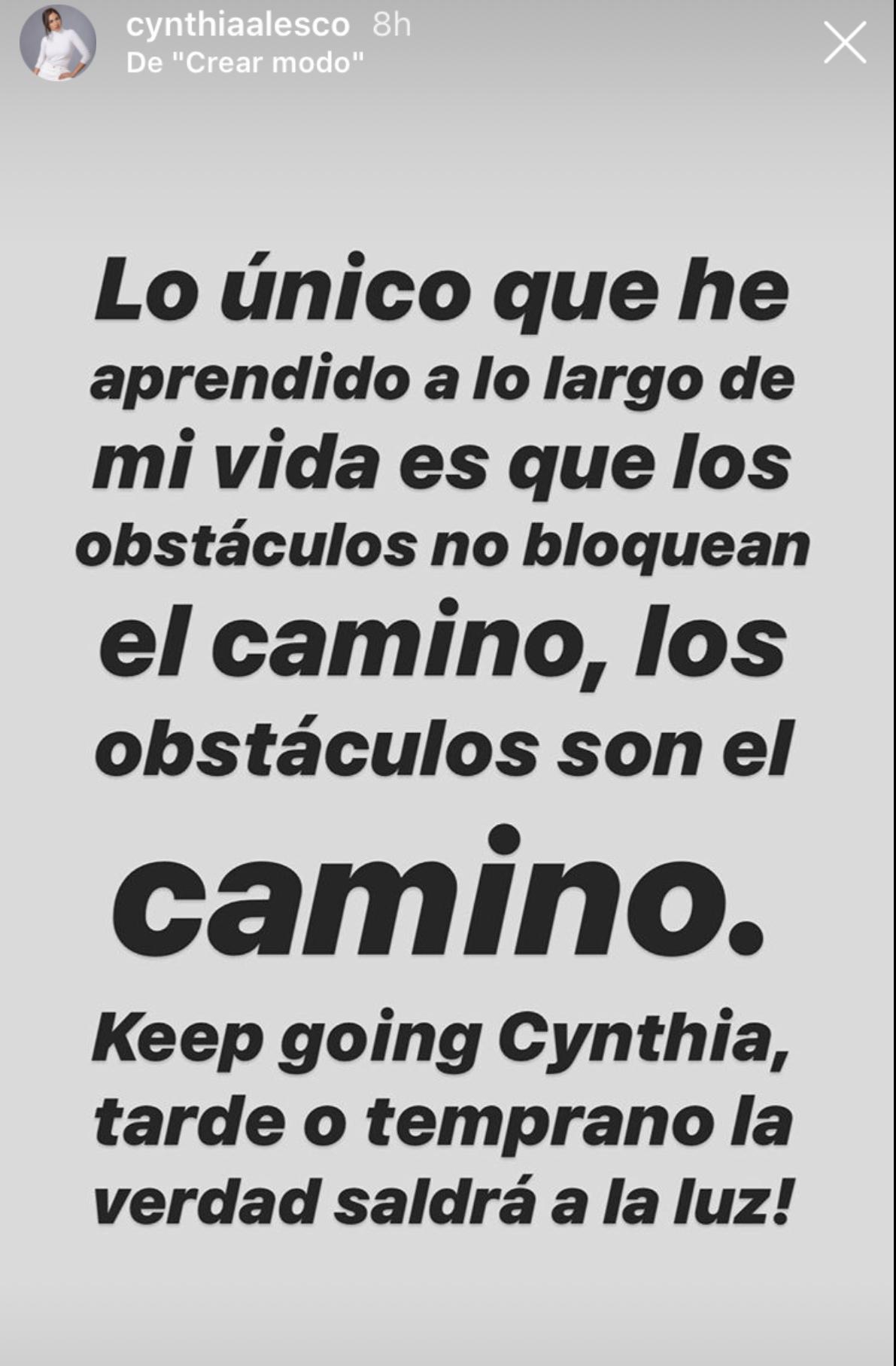 Cynthia Alesco mensaje Instagram