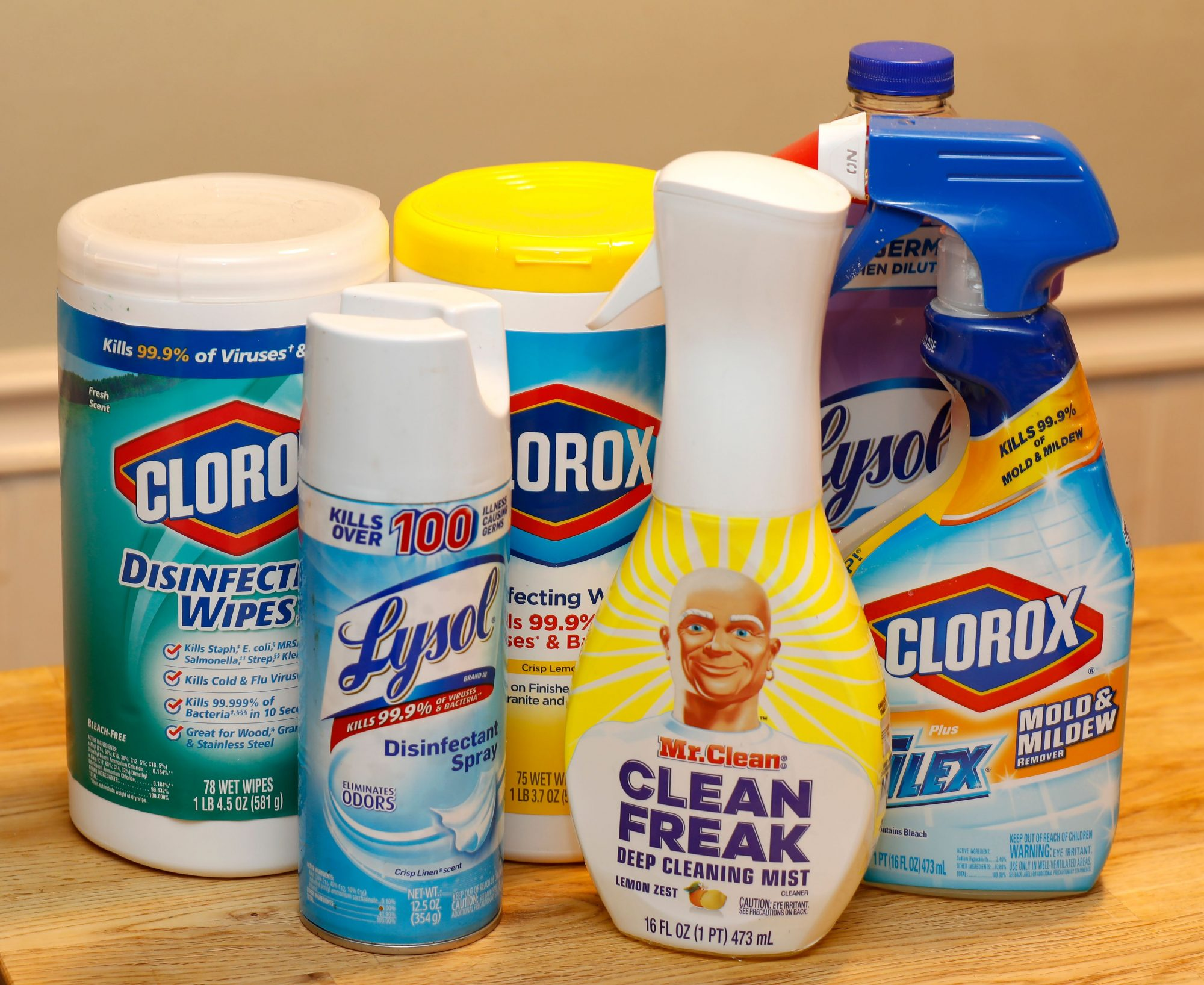 Disinfecting cleaners from Lysol, Clorox and Mr. Clean