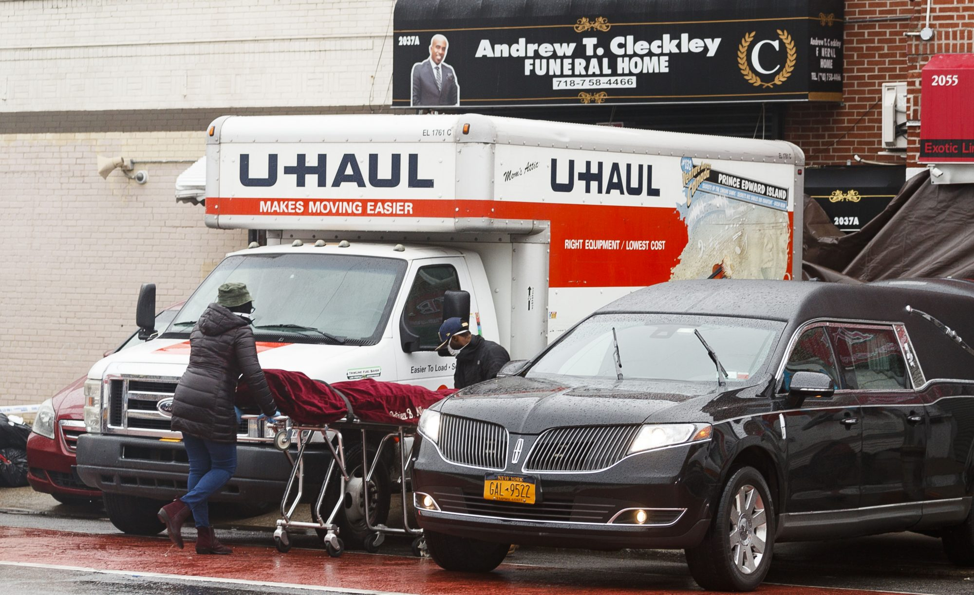U-haul bodies outside of funeral home