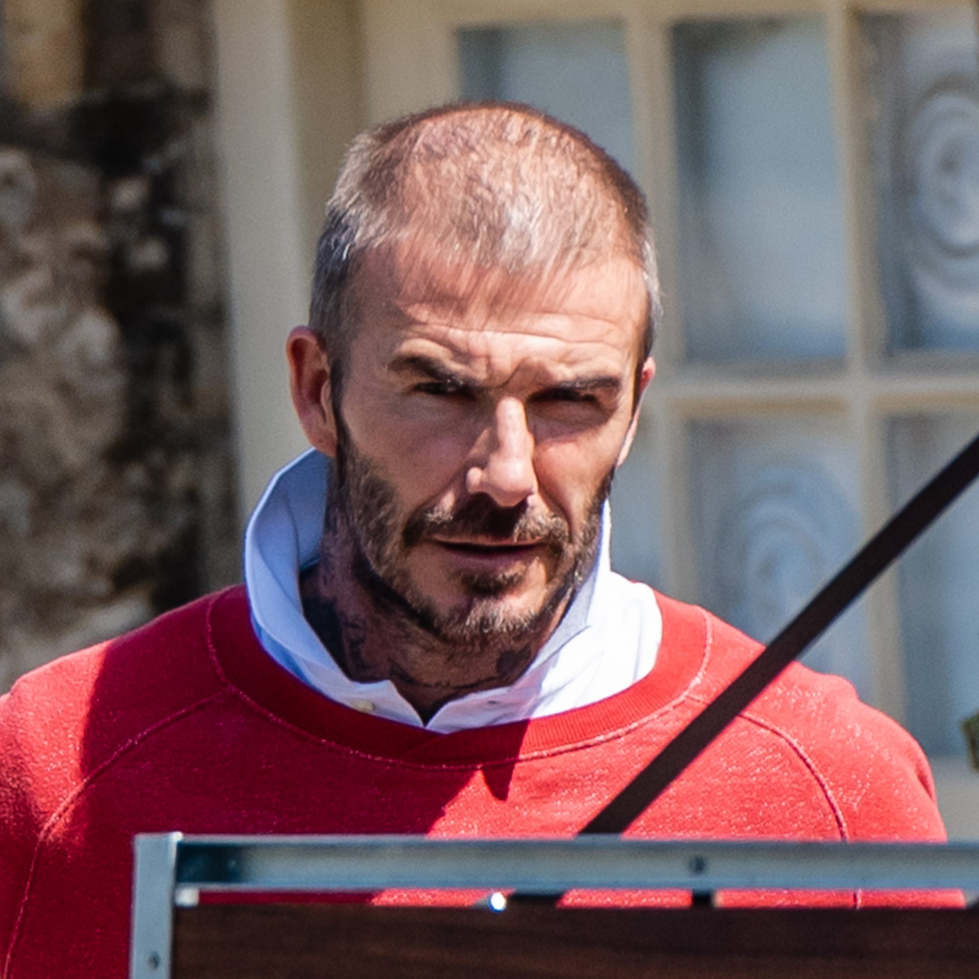 David and Harper Beckham spotted shopping in Burford 16 miles from their home in Great Tew during lockdown. David Beckham shows off Bald Patch as he goes shopping with daughter Harper,