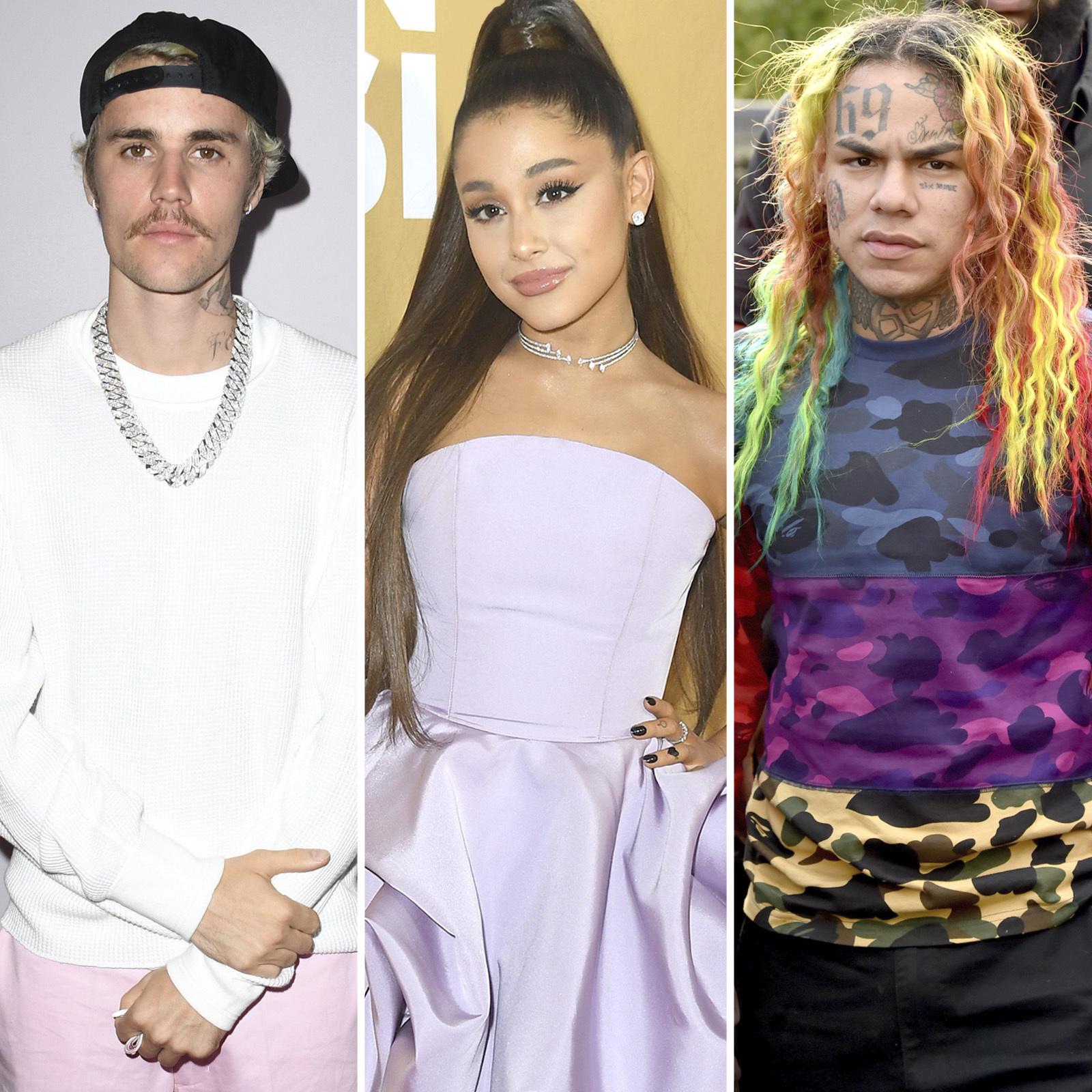 Justin Bieber, Ariana Grande y Tekashi 6ix9ine
