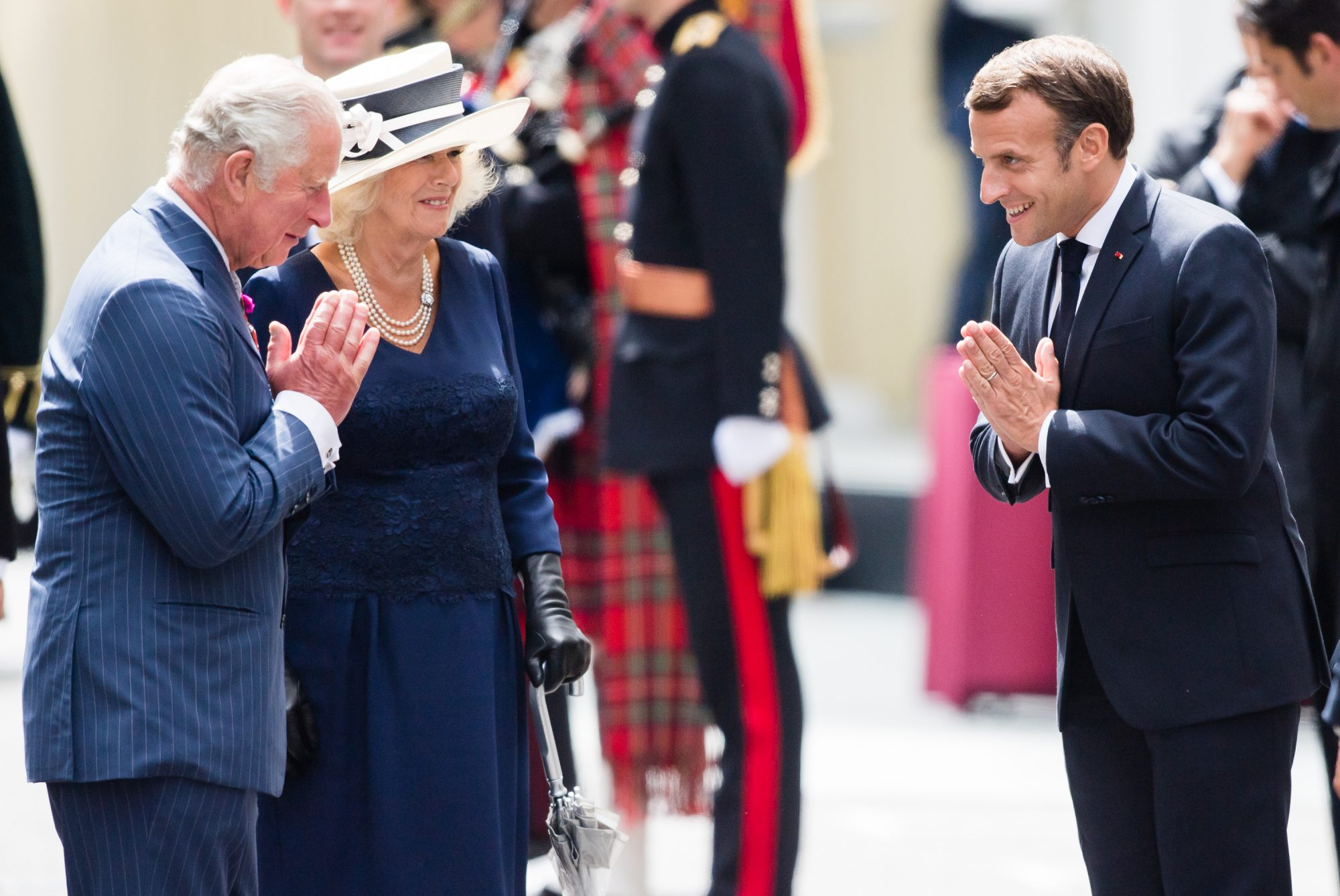 The Prince Of Wales And The Duchess of Cornwall Receive President Macron To Commemorate The Appeal of The 18th June Speech By Charles De Gaulle