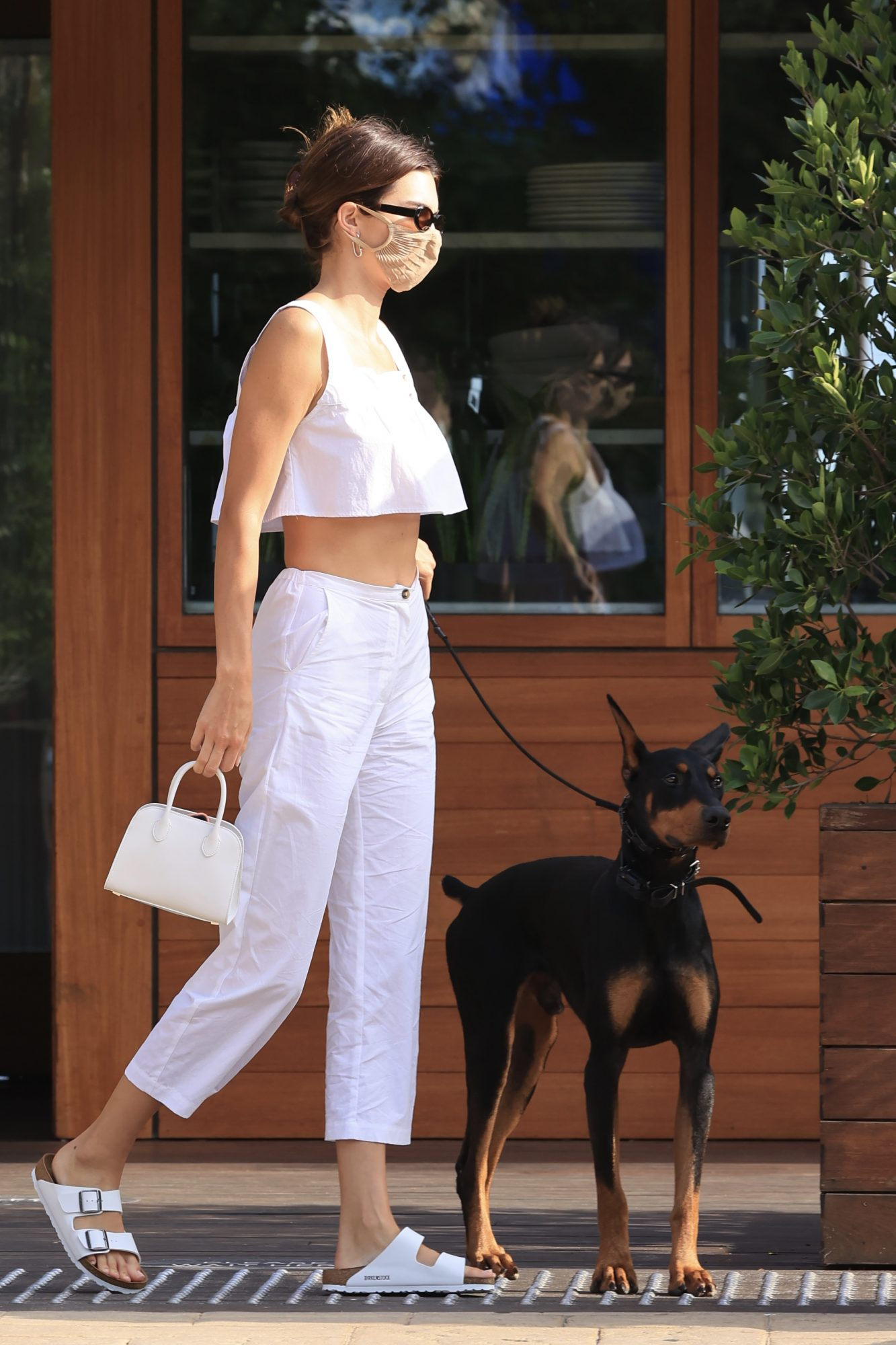 Kendall Jenner brings her adorable dog along as she enjoys her Sunday afternoon with friends at Soho house in Malibu.